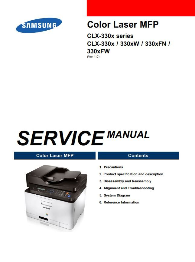 Samsung Clx 3305w Printer Service Manual And Repair Guide Repair Guide Repair Printer