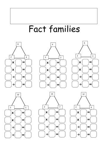 Fact families - Division and multiplication 2, 5 and 10 ...