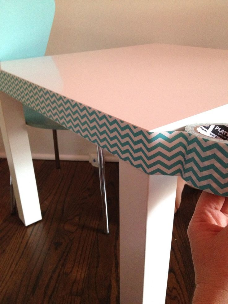 IKEA Lack table with cute duck tape edge - great for kids table