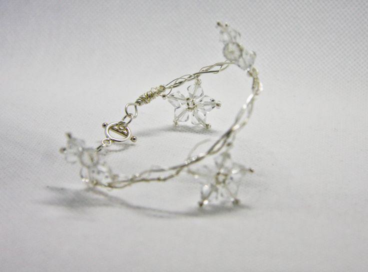 Swarovski Crystal Wire Flower Bridal Bracelet by Tiffydesigns on Etsy