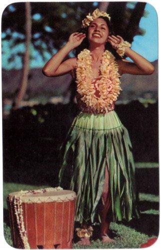 Vintage Hawaii Postcard - Hawaiian Hula Girl. 1950.