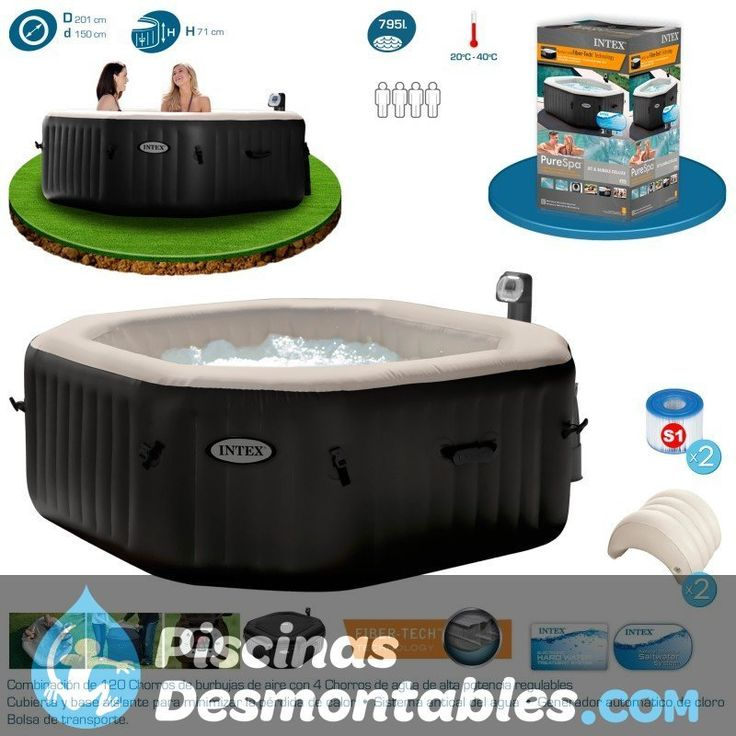 Consigue tu Purespa octogonal terapia con Jets regulables de Intex. Elegante y de alta calidad con sistema de 4 jets regulables, que te ayudarán a relajarte y una capacidad para 4 personas. Sistema de calentamiento de agua hasta los 40 grados y de tratamiento anti-cal. Disfruta de la mejor calidad sin moverte de casa. http://www.piscinasdesmontables.com/purespa-octogonal-deluxe-burbujas-y-jets-de-intex-55009