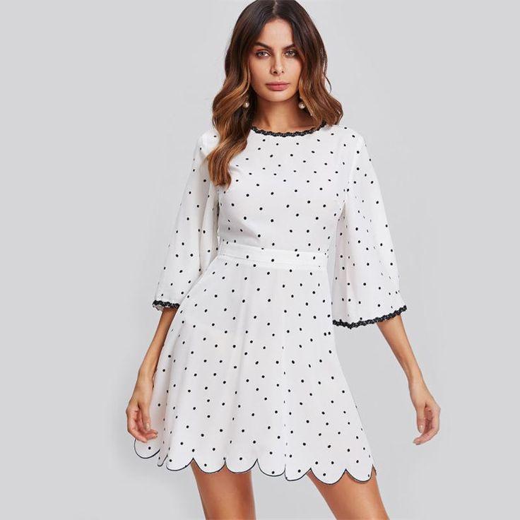 New Flare Sleeve Open Back Scalloped Elegant Polka Dot Dress  