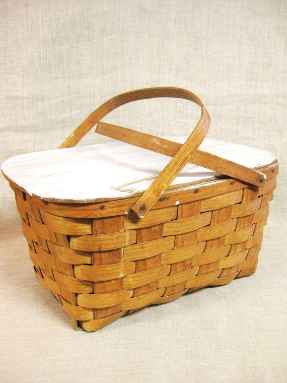 Picnic Basket Woven Splint Sewing Basket Storage Craft Storage Basket Sewing  Supplies Organization Primitive Basket Lidded