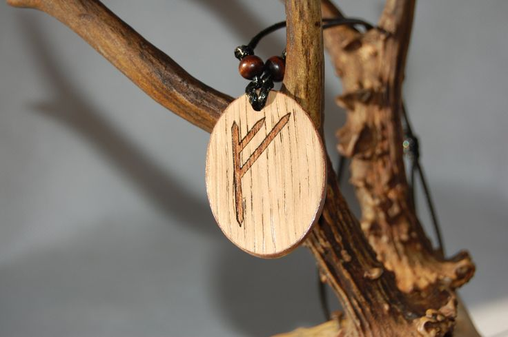 "Fehu rune necklace ""Blessing and prosperity"" charm. Marquetry Mahogany & Oak wood by RunicJewellery on Etsy"