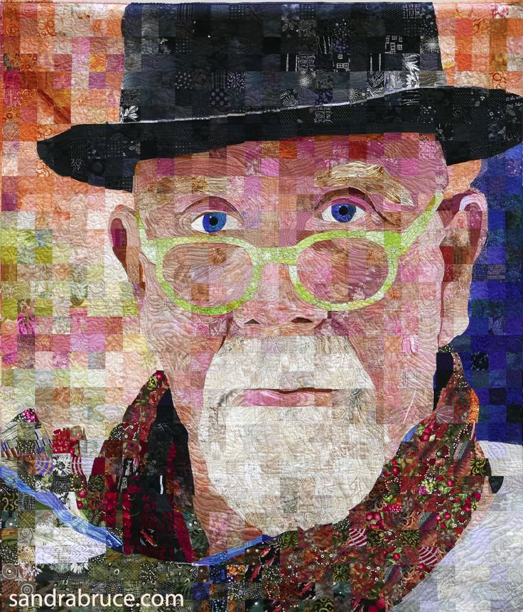 """Chuck Close Two"", a quilt by Sandra Bruce, 60"" by 70"""