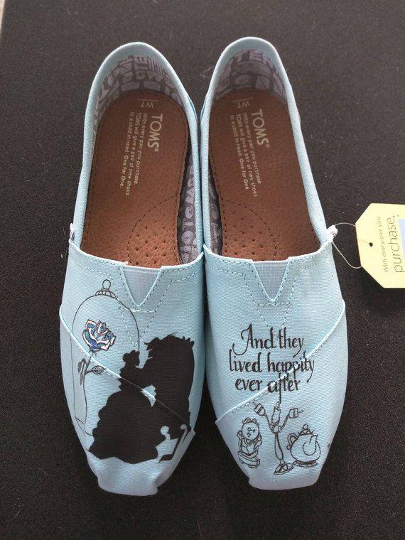 2aa2c66ab95 Disney Beauty and the Beast Wedding Silhouette Custom Hand Painted ...