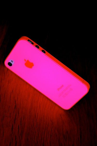 neon pink iPhone case and it glows