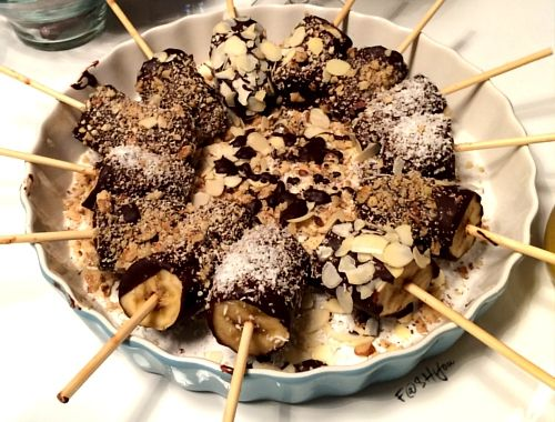 Banany w czekoladzie deser, zdrowy deser, przekąski, dessert