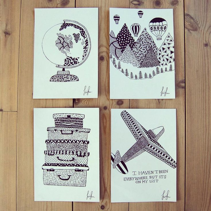 https://www.instagram.com/simonestubgaard/ four pieces of travel inspired art are now done and ready to be sent off to a happy traveller ✍🏻🌍✈️ #travel #explore #world #art #inspiration #drawing #artforsale #personalart #pendrawing #artsy #artist #simonestubgaard