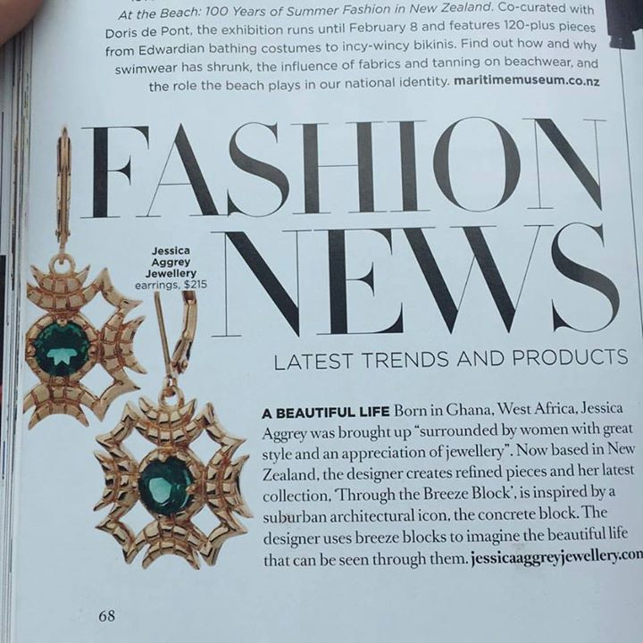Jessica Aggrey Jewellery featured in the latest New Zealand Fashion Quarterly magazine. Nice work Jessica.