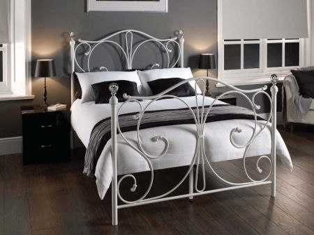 Firenze White Metal Bed with Crystal Knobs