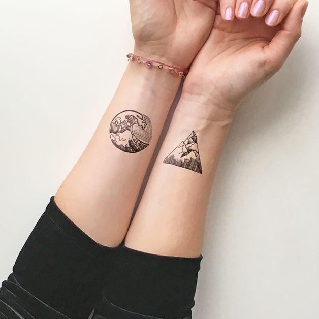 Otros - Montañas y olas - Tatuaje temporal (conjunto de 2) - hecho a mano por TTTattoo en DaWanda