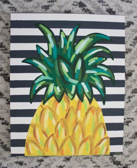 Who doesnt love a bright bold yellow pineapple?! This would make the perfect bold accent for any modern kitchen, dining room, or any other space in your home!  Handmade bright yellow pineapple on black and white striped background home decor item acrylic painting on 16 in x 20 in gallery wrap canvas with matching striped painted edges. A gallery wrap canvas is 1.5 inches in depth and often gives a more professional look. This canvas would make the perfect bold, colorful accent in nearly any…