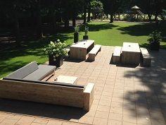 Bauholzmöbel für Ihre Terrasse beim Sportverein / Betrieb oder zu Hause. Alle Möbel sind behandelt mit eine White Wash Öl.