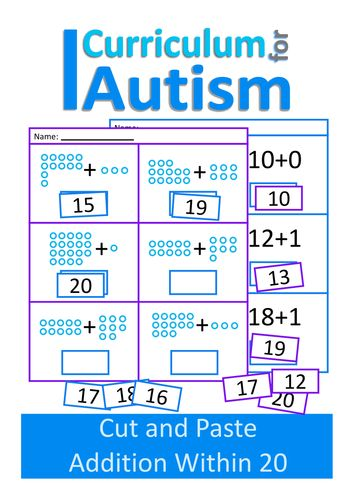 Cut and Paste Addition 10-20 Maths Worksheets, Autism, Special Education