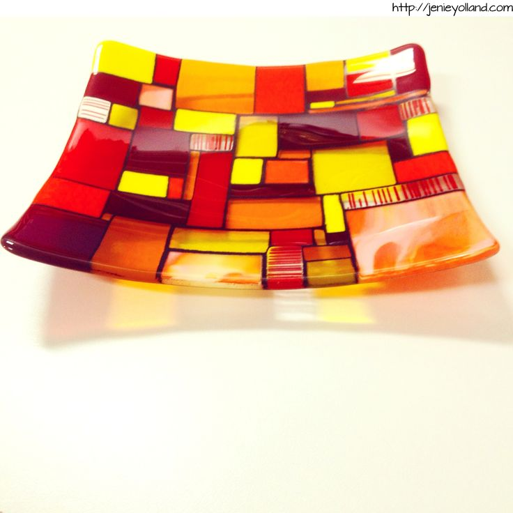 "Piet Mondrian inspired ""Sunrise"" 30x30cm glass centrepiece - made by jenie yolland http://jenieyolland.com"