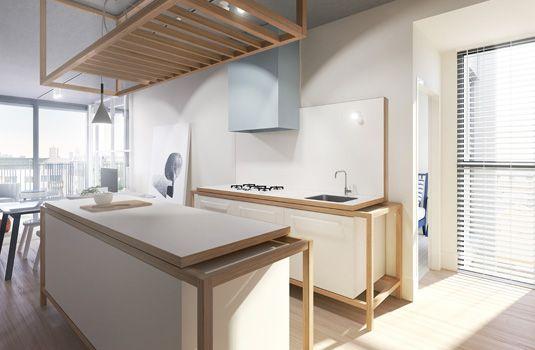eat :: love the visual interest in this kitchen - minimal yet complex. By Hecker Guthrie Design