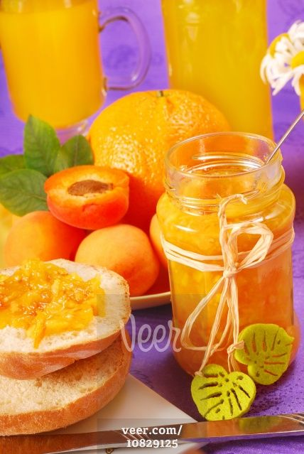 orange apricots and apricot jam Stock Photo