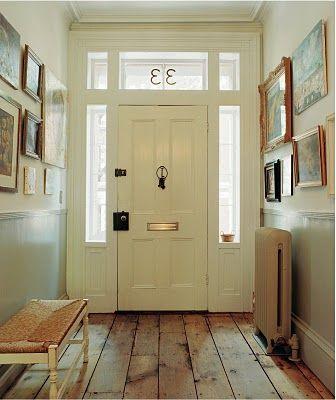 Entry with art gallery + wood floor: The Doors, Entry Way, Hallways, Front Doors, Wide Planks, Transom Window, House Numbers, Entryway, Rustic Floors