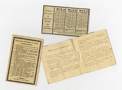 Schrift met spelregels voor kaartspelen en twee kaarten met spelinstructies voor het kaartspel Boston Russe, van Prinses Louise, begin 19e eeuw