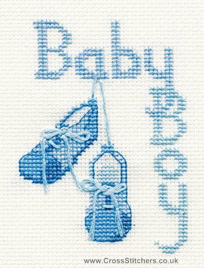 Baby Boy Greetings Card Cross Stitch Kit from Derwentwater Designs