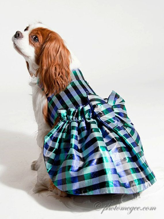dog dresses holiday jewel tone plaid taffeta in by miascloset, $15.99