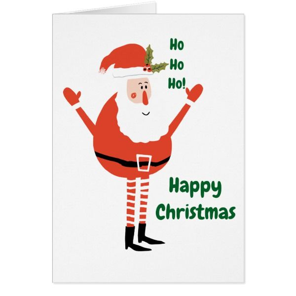 Cute Modern Santa Wishes You a Happy Christmas Card #cards #christmascard #holiday