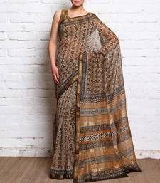 Buy cream - printed cotton saree without blouse cotton-saree online