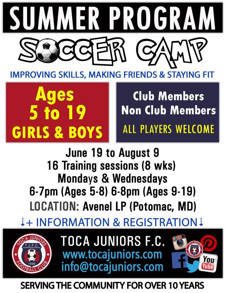 🌞Summer Program ⚽️ #Soccer Camp 💻Find more details at http://tocajuniors.com  📲 #SummerCamp #SoccerCamp #Youth #Moco #Potomac