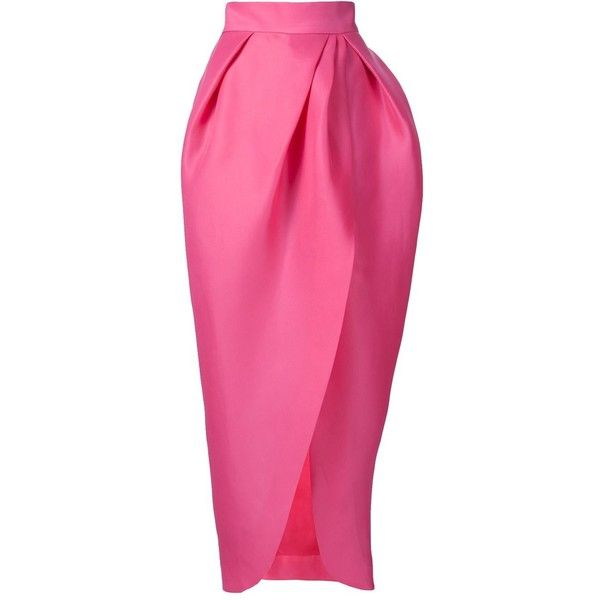 Monique Lhuillier Structured Ruched Maxi Skirt ($1,695) ❤ liked on Polyvore featuring skirts, structured skirt, ankle length skirt, silk skirt, long pink skirt and gathered skirt