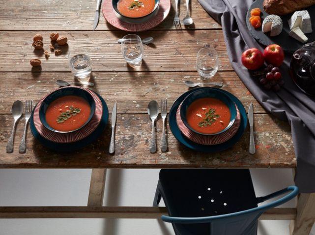 Deco table automne table bois brut