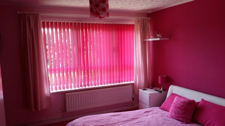Beautiful Pink Vertical Blinds Bedroom