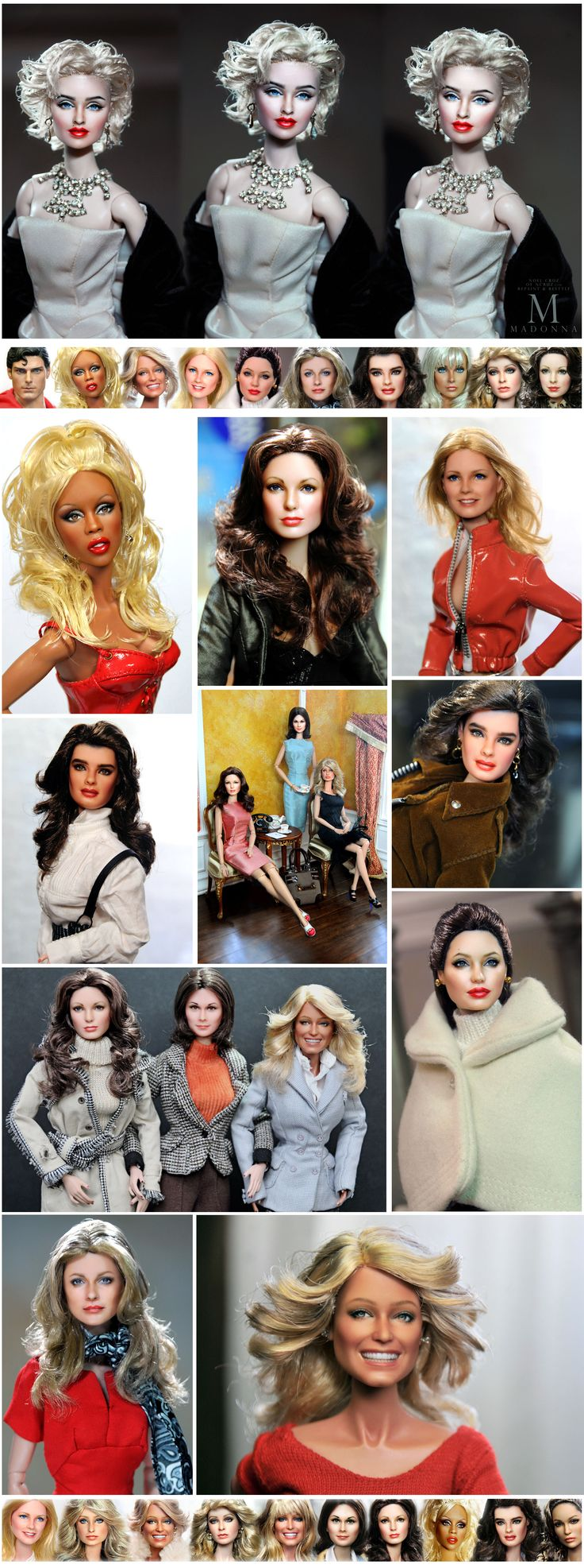 Madonna, Farrah Fawcett, Cheryl Ladd, Jaclyn Smith, Kate Jackson, Lindsay Wagner, RuPaul, Chris Reeves, Angelina Jolie, Brooke Shields and more... as repainted and restyled by Noel Cruz of ncruz.com for myfarrah.com.