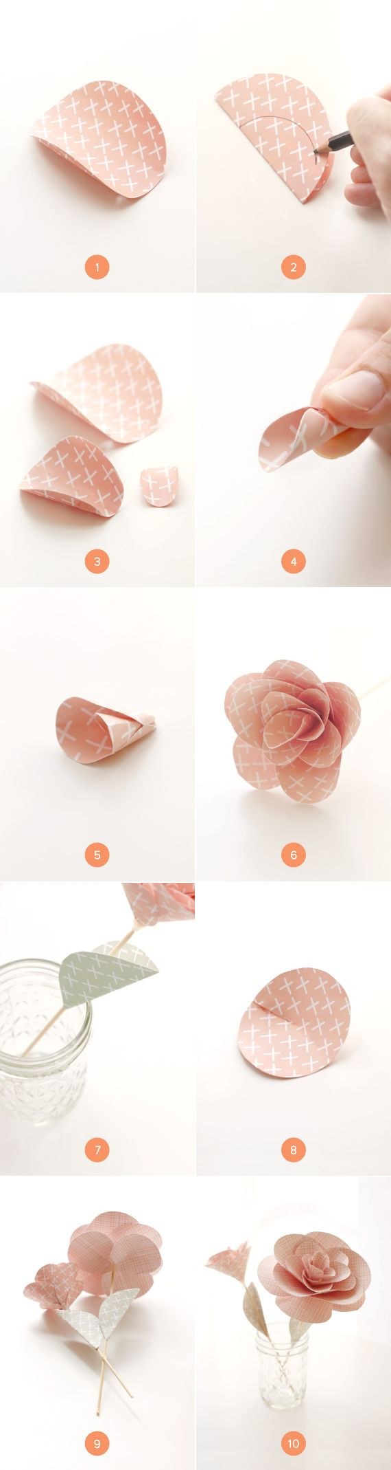 Tutorial: paper flowers made from circles - DIY craft idea - these can be used for so many things.