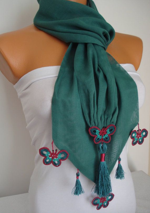 Butterfly Scarf-Anatolian Oya Scarf Hand by SuHandmadeStore