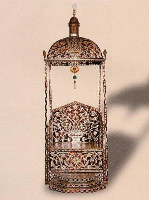 Imperial throne used at religious festivals. The entire surface is inlaid with pearl in the shape of tulips and roses, Ottoman Empire-Turkey