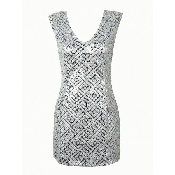 Choies Silver V-neck Sequined Open Back Bodycon Dress ($35) ❤ liked on Polyvore featuring dresses, gowns, silver, v neck sequin dress, white dress, open back bodycon dress, v-neck dresses and silver sequin dress