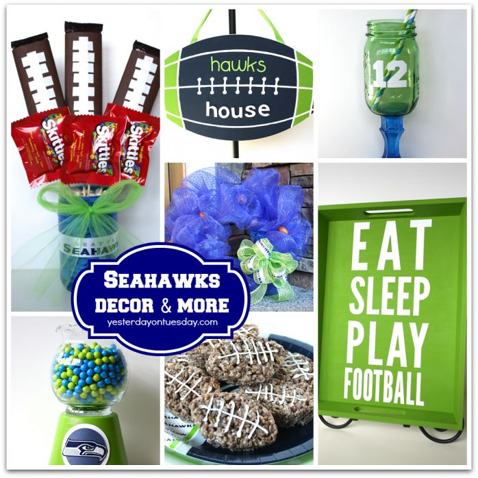 DIY Football Team Decor including Football Treats, Treat Jar, Door Hanger and more! Just have to update the team colors to Patriots!