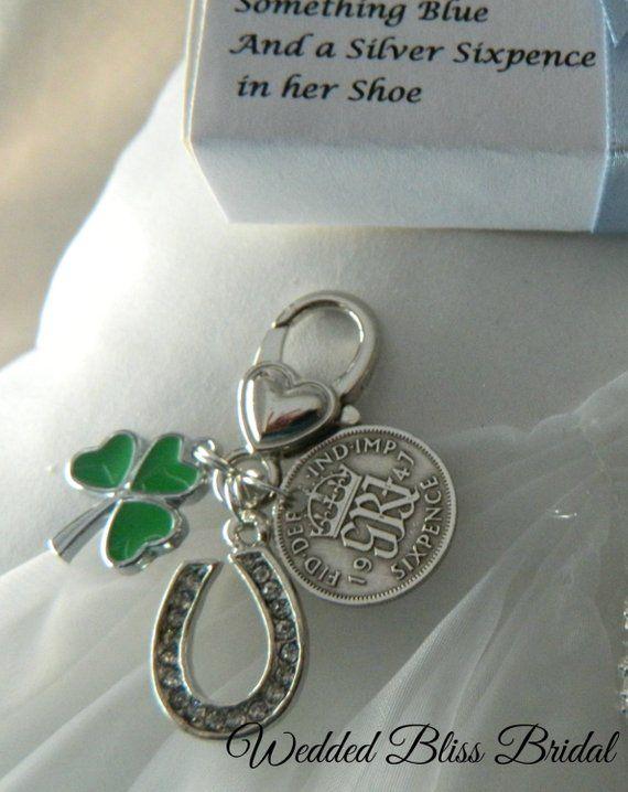 Something Blue Heart and Horseshoe Garter Charm Gift Packaged