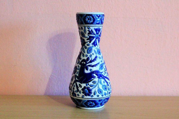 Vintage Hand Painted Greece Greek Pottery Rodos Keramic Ceramic Blue Deer Vase by Grandchildattic on Etsy