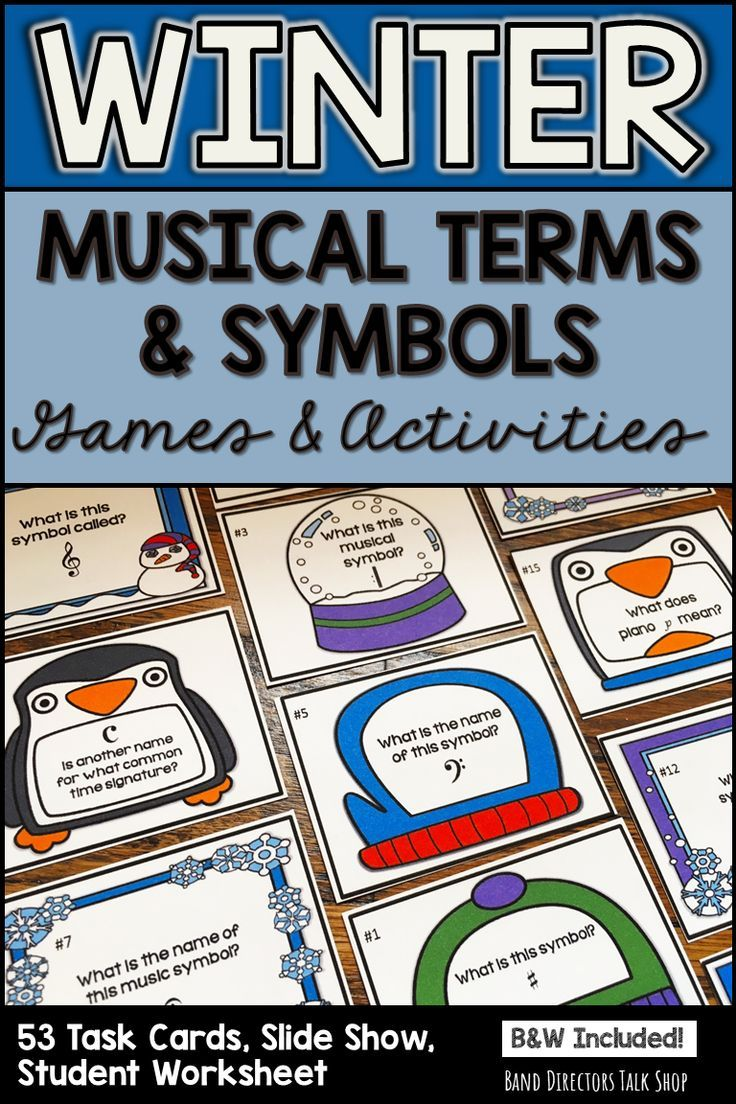 Winter Music Activities & Games- Musical Symbols & Terms Task Cards