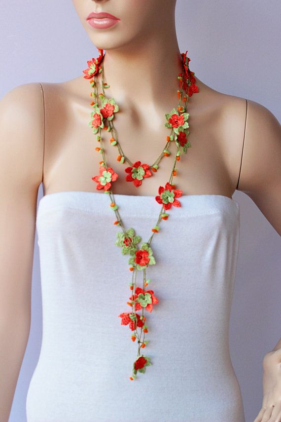Crochet Strand oya necklace jewelry / Turkish oya by SenasShop