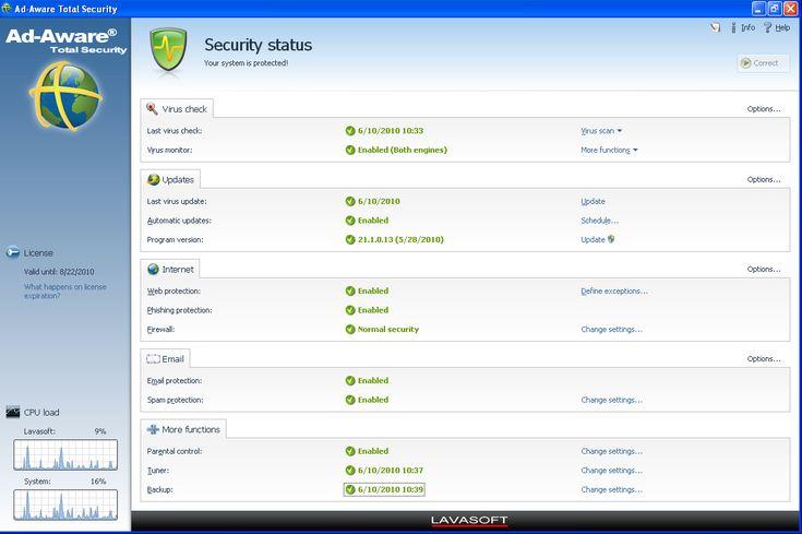 برنامج الحماية من ملفات التجسس والهكر Ad-Aware Free Antivirus