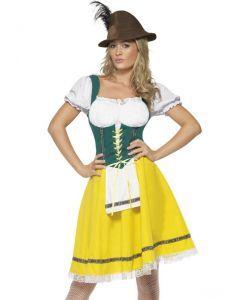 Dit Gele Oktoberfest Jurkje is perfect voor het Oktoberfest om lekker met vrienden bier te drinken. Het Gele Oktoberfest Jurkje is in de kleuren geel en groen en heeft een aangehecht wit schortje. Aan de voorzijde kan je het jurkje stellen door middel van zigzag lint. Dit typische duitse jurkje is leuk voor een feestje of carnaval met de Heidi pruik en witte kousen die u onderaan de pagina kunt vinden.