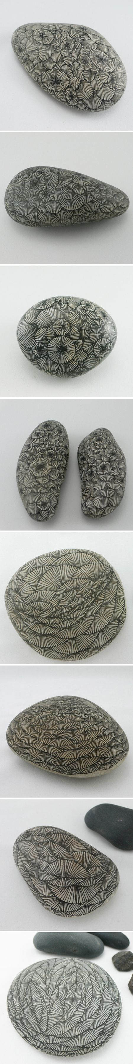 Clearly Yoran Morvant realized that rock is the new paper. Sigh… intricately hand-drawn lines, patiently layered into stunning patterns on smooth, grey stones.