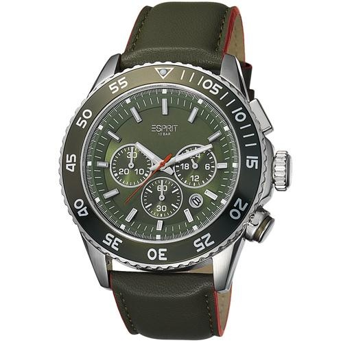 Ρολόι Esprit Varic Chrono Green Silver Case Green Leather Strap - BeMine.gr
