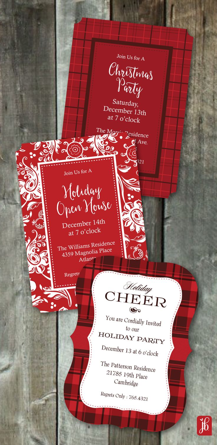 Celebrate in Style this Christmas with our New Holiday Die Cut invitations. Classic designs from Julie Bluet.