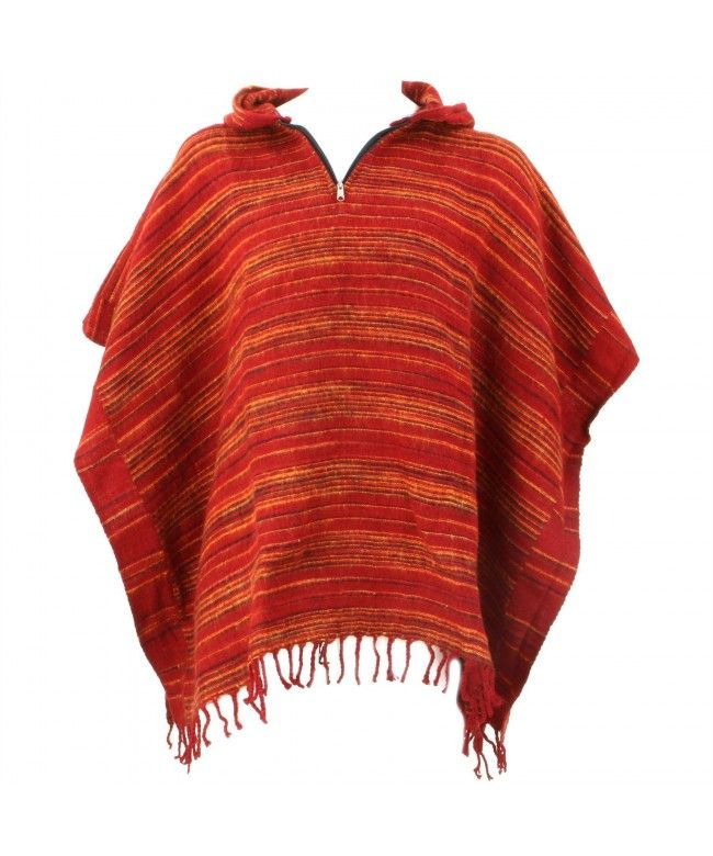 Hill Queen Acrylic hooded square Poncho with tassel hem and zip neck - Light reds