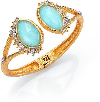 Alexis Bittar Elements Gilded Muse Amazonite & Crystal Fancy-Cut Open Cuff Bracelet on shopstyle.com